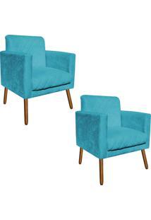 Kit 02 Poltronas Decorativa Thais Suede Azul Tiffany Tressê Pés Palitos - D'Rossi