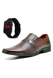 Sapato Social Com Relógio New Dubuy 710Mr Marrom