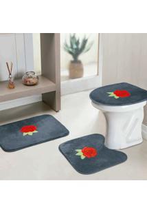 Jogo Banheiro Dourados Enxovais Standard Rosas 3 Peças Cinza