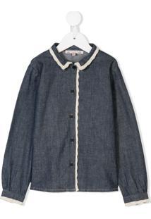 Bonpoint Camisa Com Acabamento De Crochê - Azul