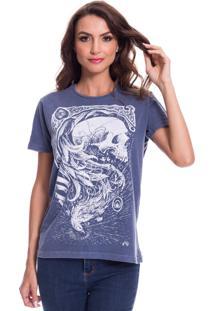 Camiseta Jazz Brasil Caveira Fãªnix Azul - Azul - Feminino - Algodã£O - Dafiti