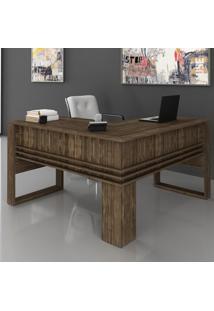 Mesa Para Escritório Angular Me4145 Nogal - Tecno Mobili