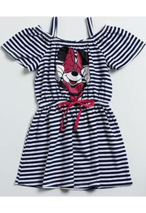 Vestido Infantil Estampa Minnie Open Shoulder Disney