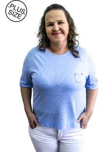 Camiseta Hifen Com Bolso Plus Size Azul