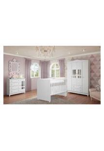 Dormitório Guarda Roupa Ariel 4 Portas Fraldário Berço Gabi Branco Carolina Baby