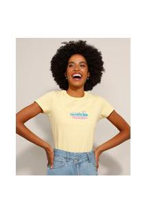 """Camiseta De Algodão """"Intuição"""" Manga Curta Decote Redondo Amarela"""