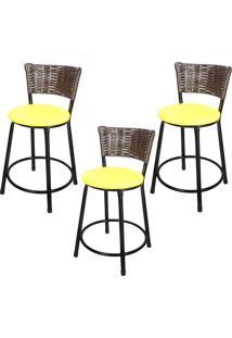 Banquetas Baixa Para Cozinha Hawai Café 3Un Assento Marrom/Amarelo