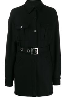 Pinko Belted Single-Breasted Coat - Preto