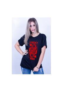 Camiseta Bilhan Corte A Fio Luck You Preta