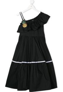 Monnalisa Vestido Ombro Único - Preto