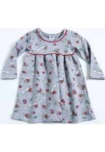 Vestido Infantil Estampa Floral Manga Longa Rovitex