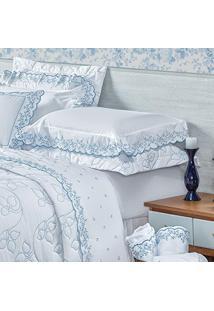 a1e72ee5d2 Jogo De Cama 200 Fios Queen Barcellos 04 Pcs - Branco E Azul