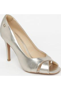 Peep Toe Em Couro Metalizado- Dourado- Salto: 9,5Cmcapodarte