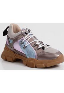 Tênis Feminino Chunky Sneaker Metalizado Zatz