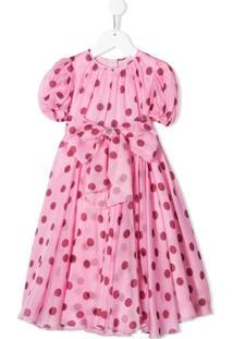 Dolce & Gabbana Kids Vestido Evasê Com Poás - Rosa
