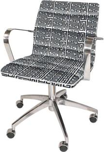 Cadeira De Escritório Diretor Estrela Jacquard Branco Com Preto