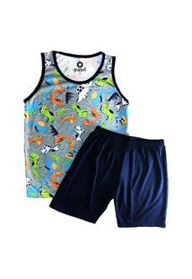 Pijama Grappin Masculino Regata E Short Curto Infantil Juvenil Dino-E161