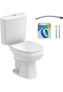 Kit Bacia Com Caixa Acoplada E Assento Avant Branco + Conjunto De Fixação Flexível E Anel De Vedação - Incepa - Incepa