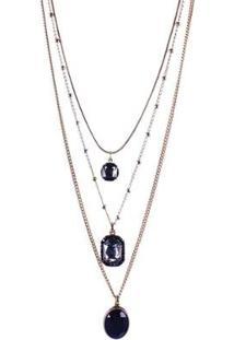 Colar Armazem Rr Bijoux Triplo Cristal Com Pedra Feminino - Feminino-Dourado