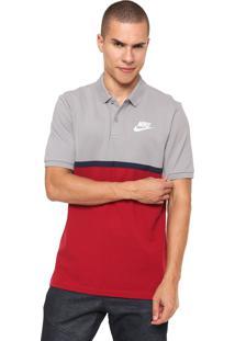 a85999bf59 Camisa Polo Nike Sportswear Nsw Cinza Vermelha
