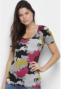 Camiseta Coca Cola Estampada Feminina - Feminino-Rosa+Marinho