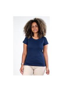 Camiseta Meio Swag Básica Gola Redonda Azul Marinho