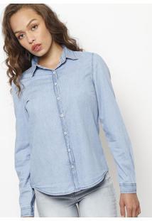 4b26528074 Camisa Jeans Estonada- Azul Claro- Folhahering
