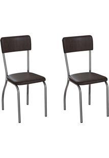 Conjunto Com 2 Cadeiras Nowra Tabaco E Cromado