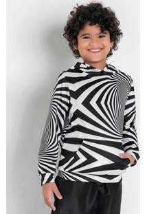 Casaco Infantil Estampa Gráfica Com Capuz
