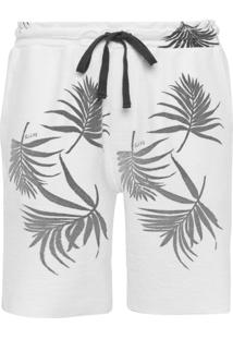 Bermuda Masculina Moletom Foliage Minimal All Over - Off White