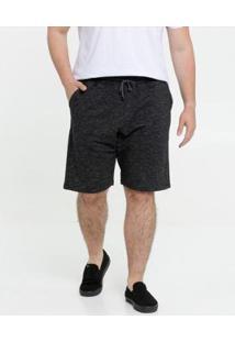 Bermuda Masculina Moletinho Plus Size - Masculino-Preto