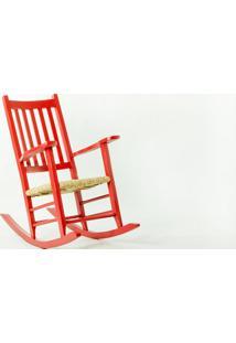 Cadeira De Balanço Palha Pestre Vermelha - 64X112X110 Cm