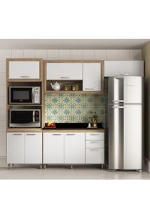 Cozinha Compacta Crespo 8 Pt 3 Gv Argila, Branco E Preto