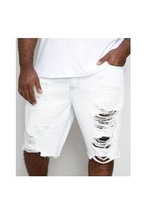 Bermuda Jeans Masculina Plus Size Tradicional Destroyed Azul Claro