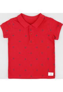 Polo Infantil Em Piquet Estampada De Barquinhos Manga Curta Vermelho