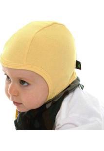 Touca Bebê Gumii Aviador Masculino - Masculino-Amarelo