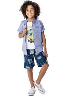 Camisa Tradicional Com Bolsos Menino Malwee Kids