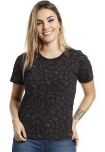 Camiseta Vlcs Gola Careca Feminina - Feminino-Preto