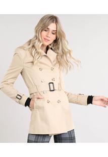 Casaco Trench Coat Feminino Transpassado Com Bolsos E Cinto Bege