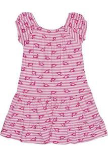 Vestido Ciganinha Flamingos- Rosa & Pink- Kidstip Top