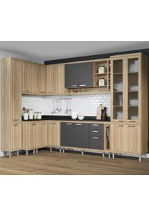 Cozinha Completa 16 Portas 5 Gavetas Sicilia 5804 Argila/Grafite Premium - Multimóveis