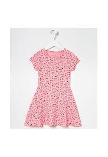 Vestido Infantil Estampa Gatinho - Tam 5 A 14 Anos | Fuzarka (5 A 14 Anos) | Rosa | 7-8