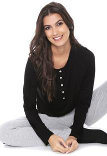 Camiseta Liz Easywear Botões Preta