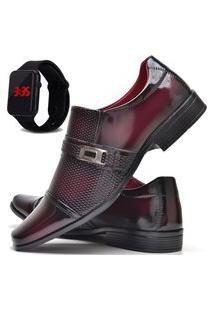 Sapato Social Masculino Asgard Com E Sem Verniz Com Relógio Led Db 814Lbm Vermelho