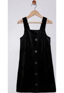 Vestido Salopete Veludo Juvenil Para Menina - Preto