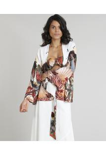Kimono Feminino Água De Coco Estampado Corais Manga Longa Off White