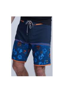 Bermuda Hd Boardshort Sublimado Nightflora Azul Marinho