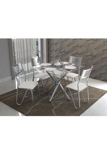 Conjunto Mesa Volga Com 4 Cadeiras Napoles Branco E Cromado Kappesberg Crome - Branco - Dafiti