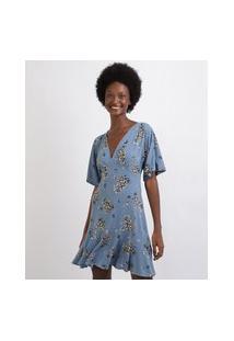 Vestido Feminino Curto Estampado Floral Com Babado Manga Curta Decote V Azul