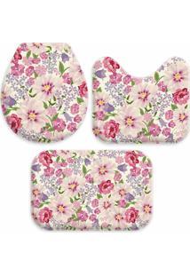 Jogo Tapetes Love Decor Para Banheiro Flowers Pink Único